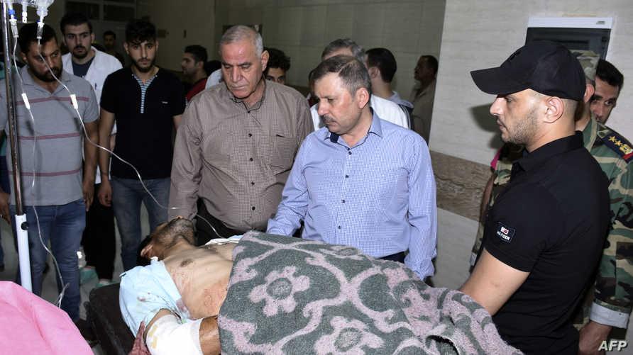أحد المصابين بالقصف الذي استهدف المناطق التي يسيطر عليها النظام السوري في حلب