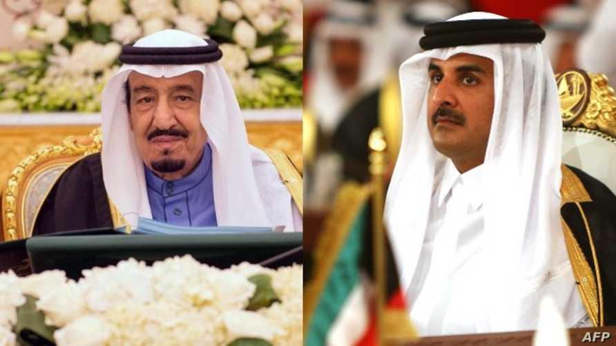 أمير قطر الشيخ تميم بن حمد آل ثاني (يمين) والعاهل السعودي الأمير سلمان بن عبد العزيز