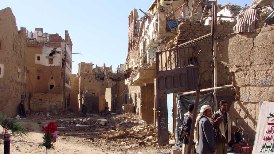 آثار قصف سابق على صعدة