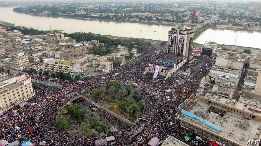 جموع المتظاهرين في العاصمة بغداد