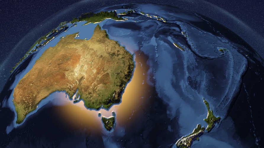 خريطة تظهر استراليا ونيوزيلندا