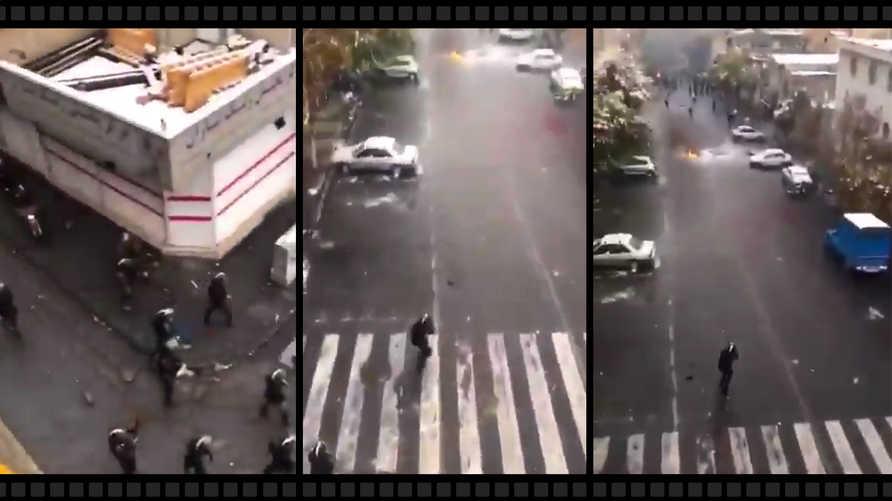لقطة من فيديو إطلاق الأمن الإيراني الرصاص على المتظاهرين.
