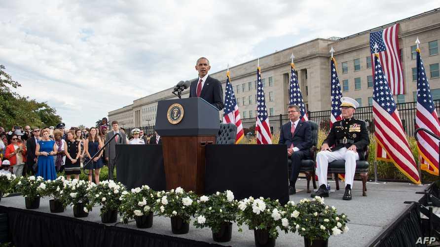 الرئيس أوباما خلال مراسم إحياء ذكرى هجمات 11 سبتمبر، في البنتاغون الأحد