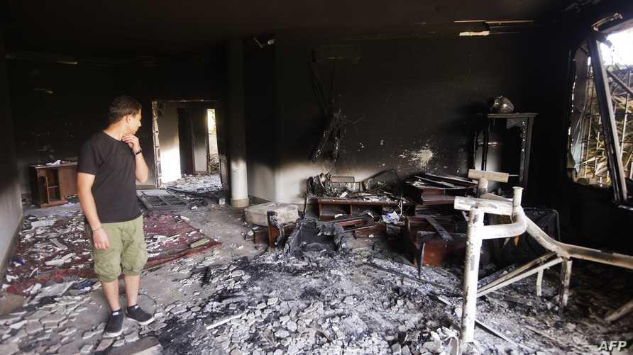 آثار الدمار الذي خلفه الهجوم على مقر البعثة الأميركية في بنغازي_أرشيف