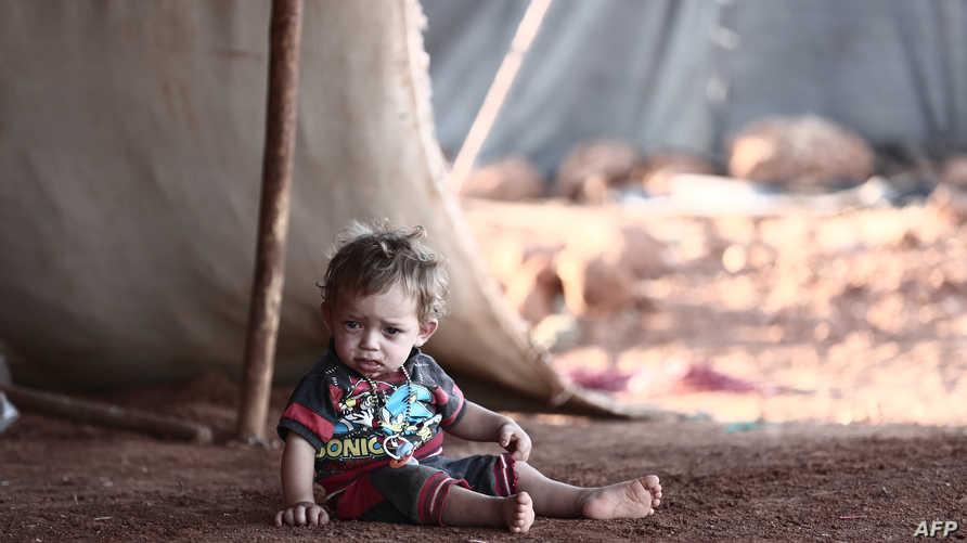 في أحد مخيمات النازحين في إدلب
