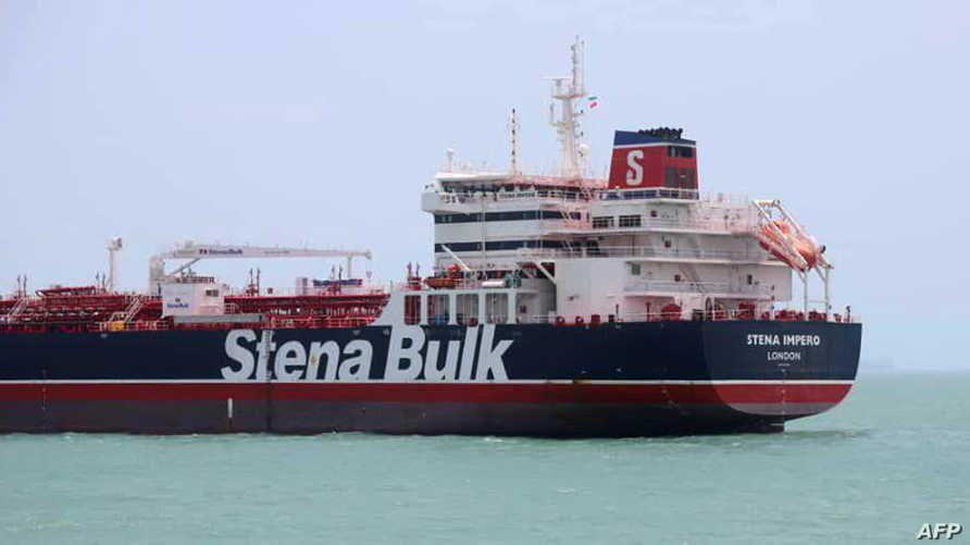 الناقلة البريطانية ستينا أمبيرو ترسو في ميناء بندر عباس حيث تحتجزها إيران