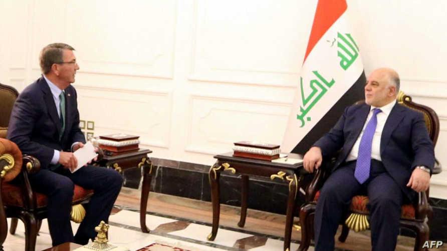 رئيس الوزراء حيدر العبادي مع وزير الدفاع الأميركي آشتون كارتر