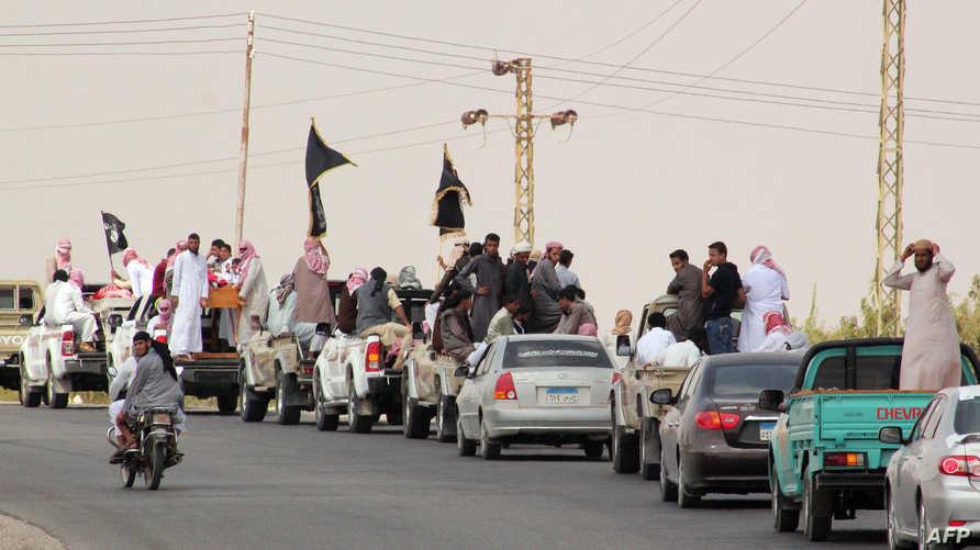 """قافلة لجماعة """"أنصار بيت المقدس"""" في سيناء خلال تشييع جنازة عناصر تابعة لها"""