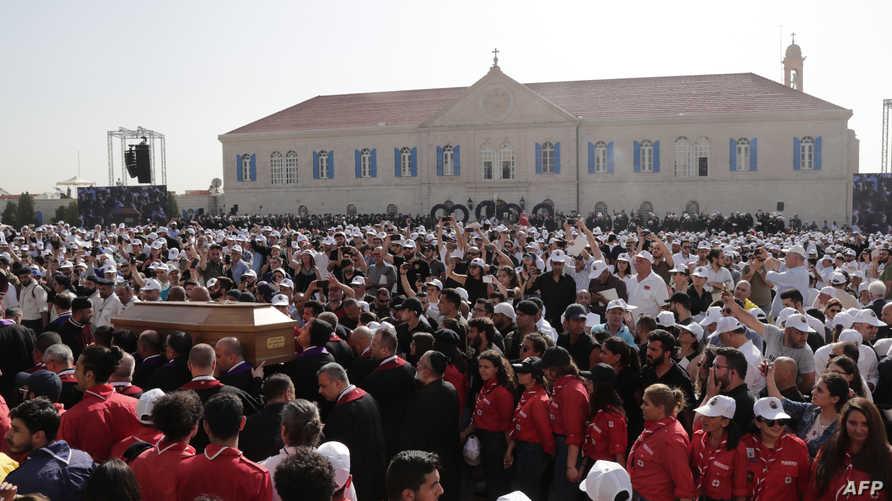 جانب من جنازة البطريرك السابق نصر الله صفير