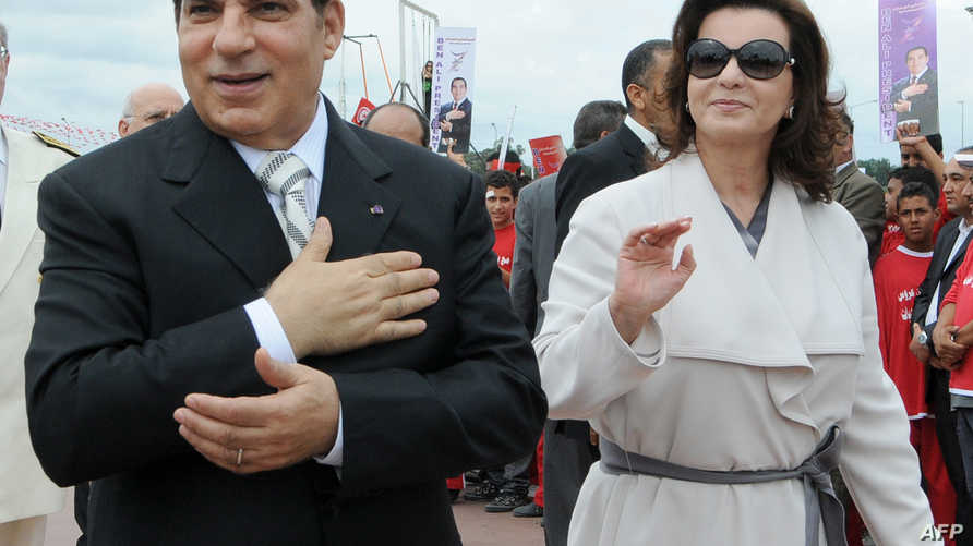 الرئيس التونسي الأسبق زين العابدين بن علي وزوجته (أرشيف)
