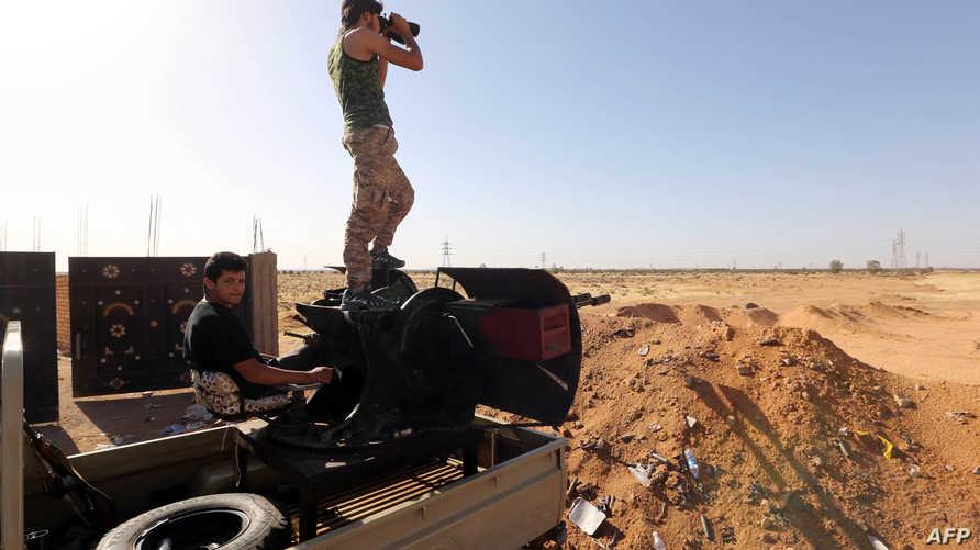 مقاتلون في مدينة الغريان. أرشيفية