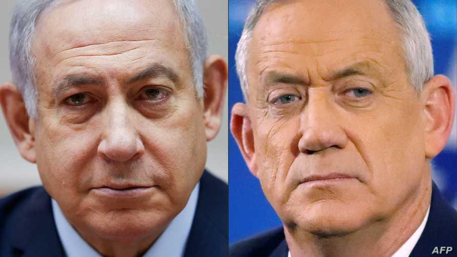 صورة مركبة لرئيس الوزراء الإسرائيلي بنيامين نتانياهو (يسارا) والجنرال المتقاعد بيني غانتس