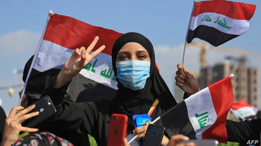 عراقيون يشاركون في مظاهرات في كربلاء بتاريخ 31 أكتوبر 2019