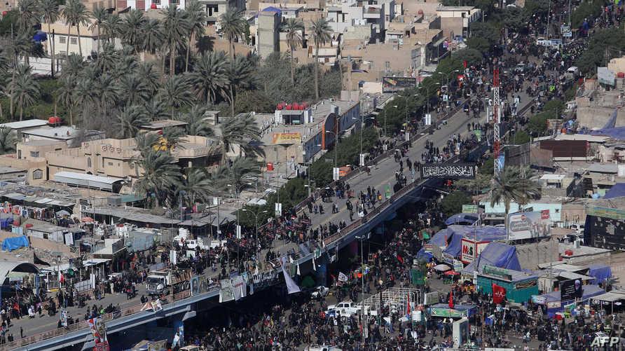 صورة لمركز مدينة كربلاء وزوار الأربعينية-أرشيف