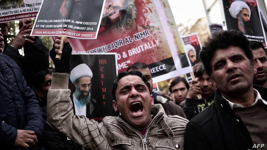 شيعة يحتجون على إعدام السعودية رجل الدين الشيعي نمر النمر سنة 2016
