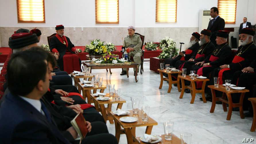 قيادات مسيحية في إقليم كردستان العراقي في لقاء مع رئيس الإقليم مسعود بارزاني_أرشيف