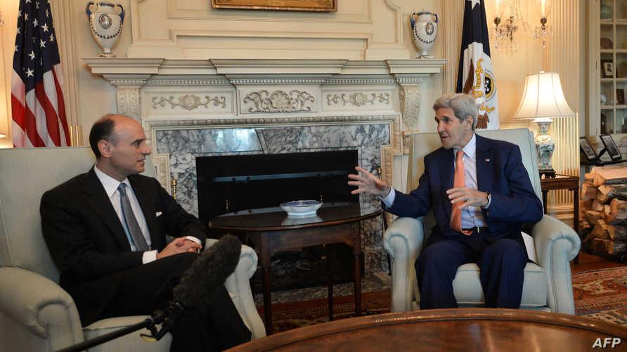 كيري والجبير خلال لقائهما في مقر الخارجية الأميركية في واشنطن