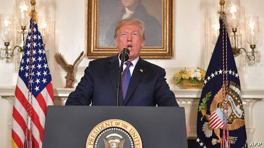 الرئيس دونالد ترامب خلال إعلانه بدء توجيه ضربات لأهداف سورية