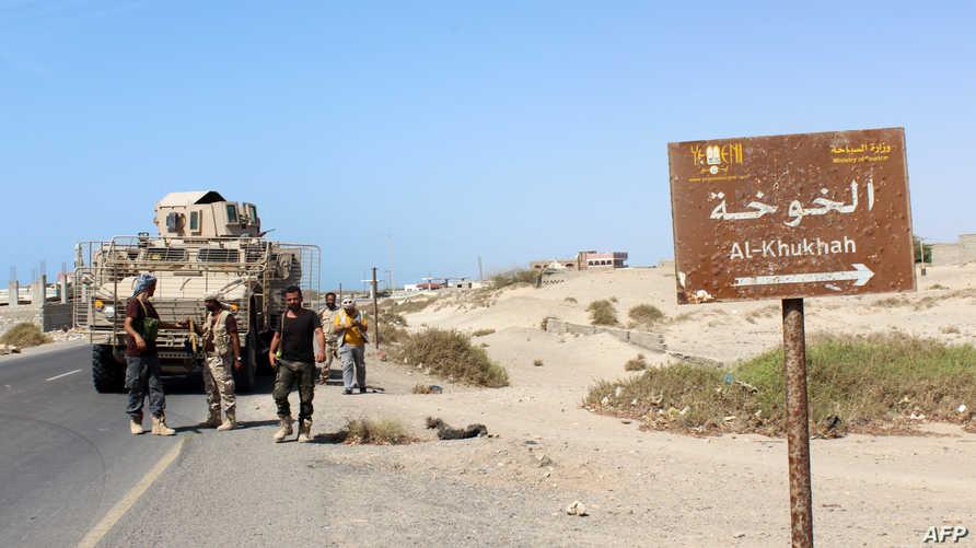 مقاتلون موالون للتحالف بقيادة السعودية قرب ميناء الخوخة