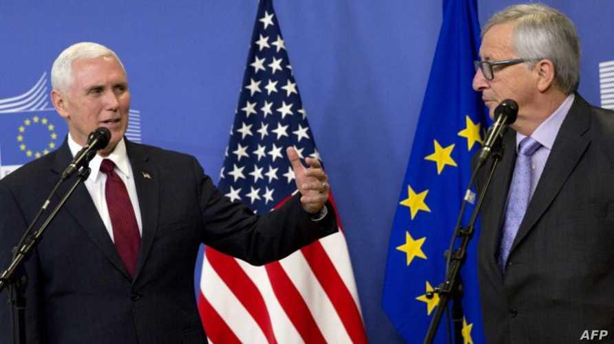 رئيس المفوضية الأوروبية جون كلود يونكر ونائب الرئيس الأميركي مايك بنس