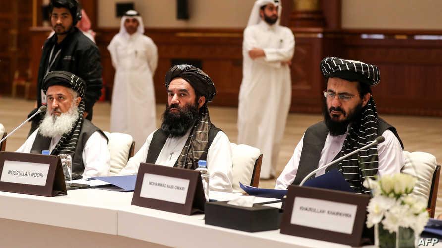 وفد طالبان خلال محادثات الدوحة