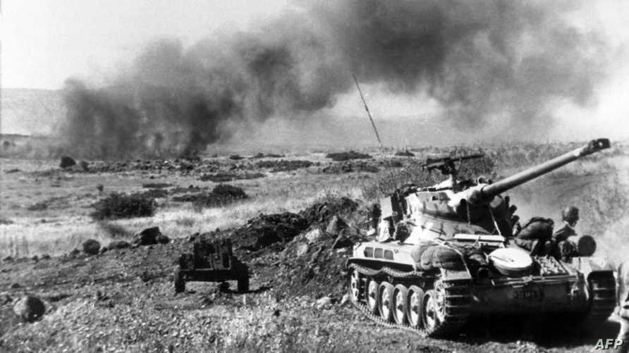 دبابة إسرائيلية من صنع فرنسي في مرتفعات الجولان خلال حرب 1967