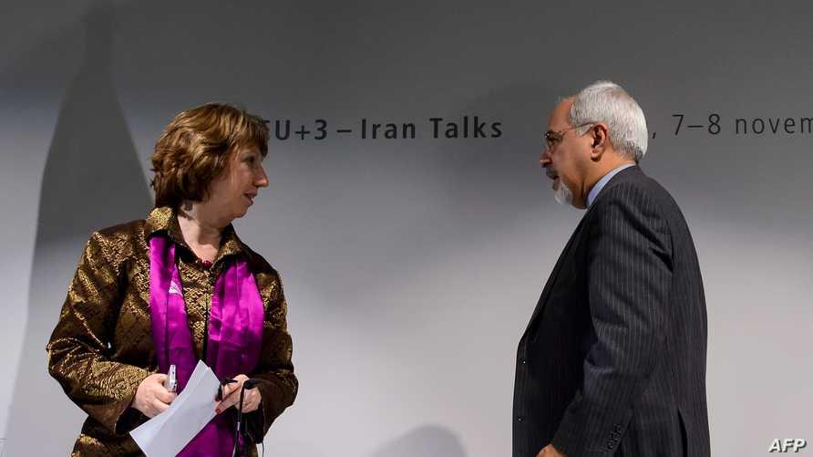 وزيرة خارجية الاتحاد الأوروبي كاثرين آشتون ونظيرها الإيراني محمد جواد ظريف بعد مؤتمر صحافي في جنيف