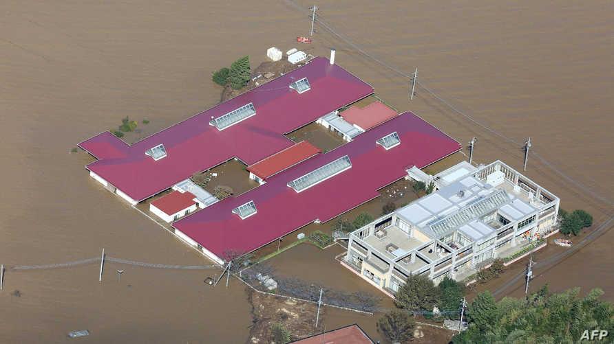 صورة من الجو لمنطقة متضررة من الفيضانات الناتجة عن إعصار هاغيبيس