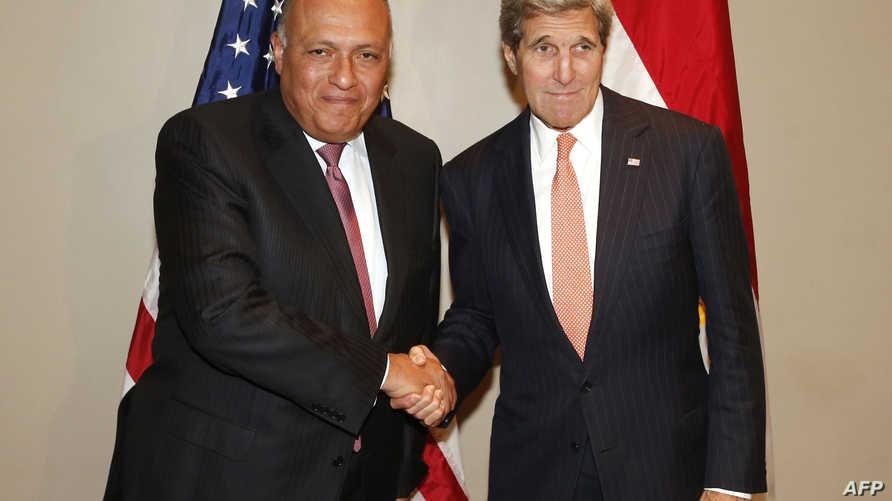 وزير الخارجية الأميركي جون كيري ونظيره المصري سامح شكري - أرشيف