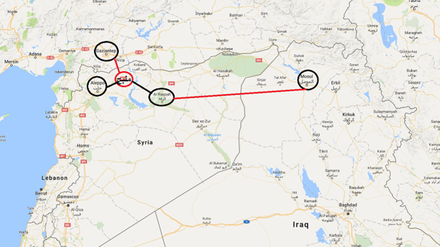 خريطة توضح علاقة مدينة منبج بالمدن الأخرى التي يسيطر عليها داعش