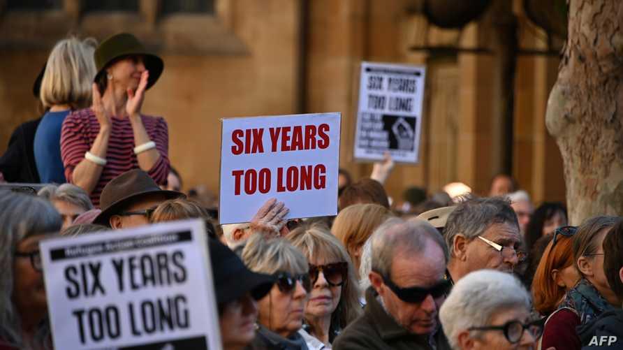 محتجون أمام البرلمان الأسترالي