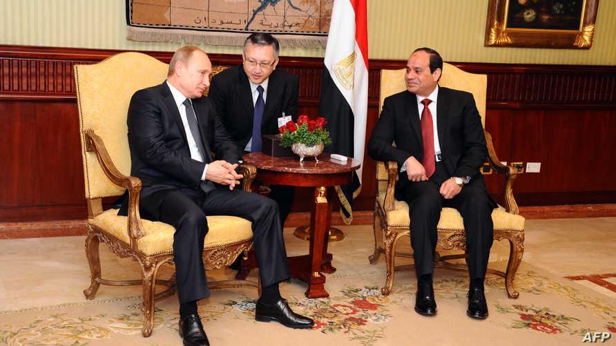 الرئيس المصري عبد الفتاح السيسي يستقبل نظيره الروسي فلاديمير بوتين