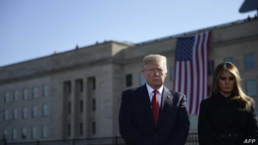 الرئيس دونالد ترامب والسيدة الأولى ميلانيا في دقيقة صمت لإحياء ذكرى هجمات الـ11 من سبتمبر في البنتاغون
