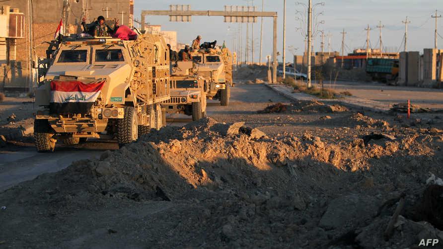 قطعات الجيش العراقي تتحرك باتجاه منطقة السجارية غرب الرمادي الثلاثاء الماضي
