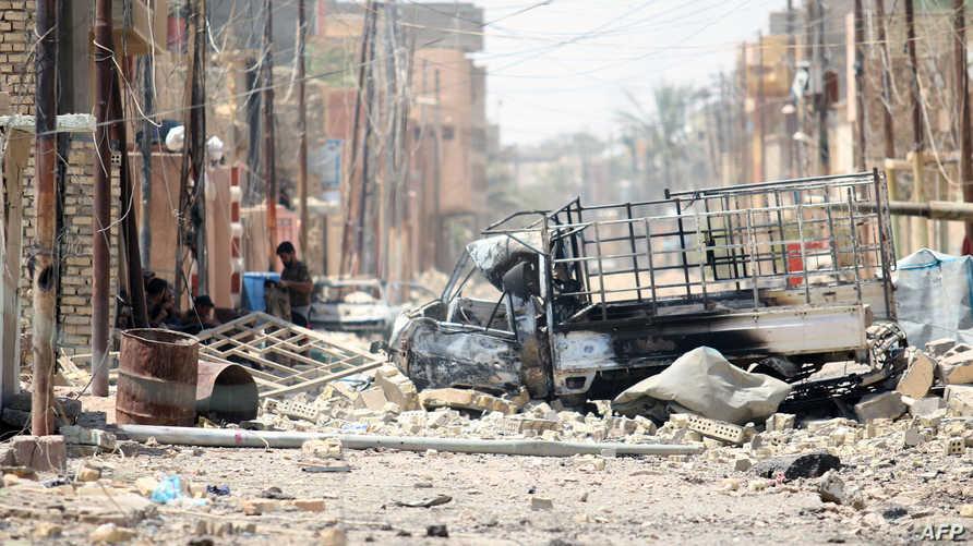 """صورة توضح جانب من الدمار الذي ألحقه """"داعش"""" بمدينة الفلوجة العراقية"""