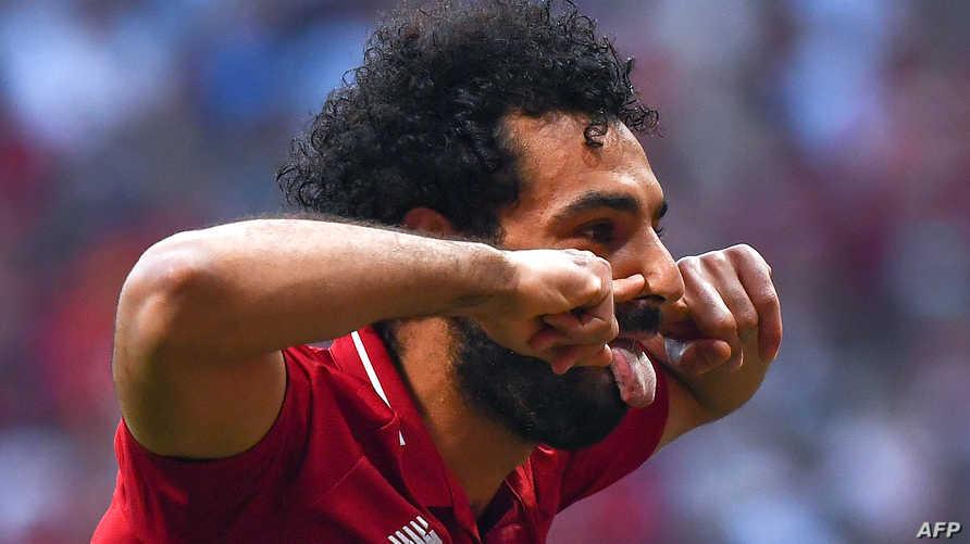 محمد صلاح بعد هدفه لصالح ليفربول أمام توتنهام في نهائي أبطال أوروبا