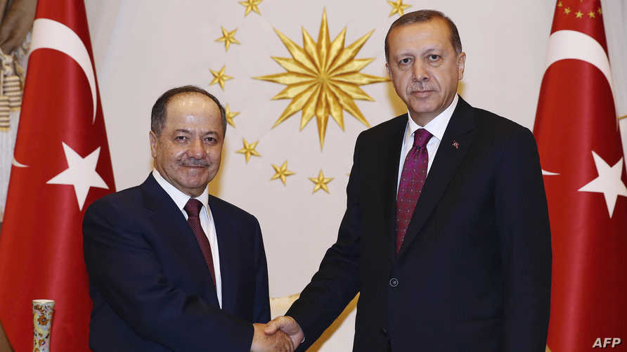 الرئيس التركي رجب طيب أردوغان ورئيس إقليم كردستان مسعود بارزاني