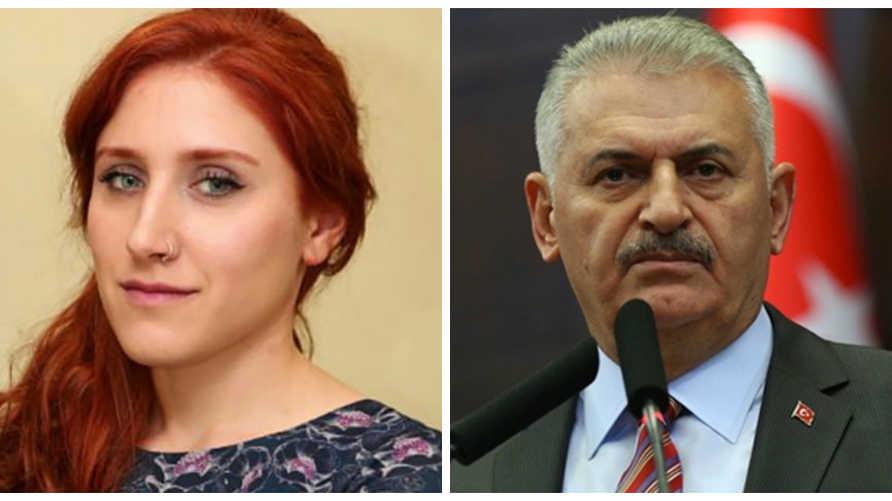 على اليمين: رئيس الوزراء التركي السابق بن علي يلدرم.. وعلى اليسار: الصحافية التركية بيلين أنكر