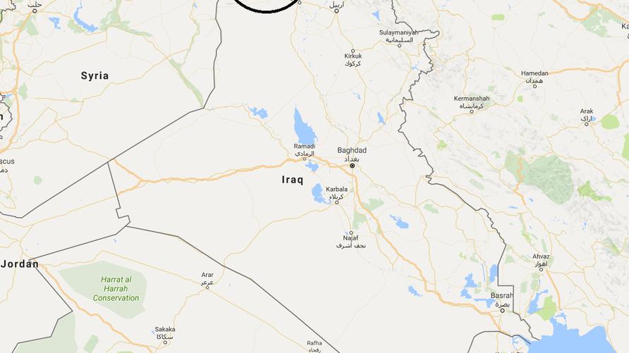 خريطة توضح موقع مدينة ربيعة وفيش خابور قرب الحدود السورية