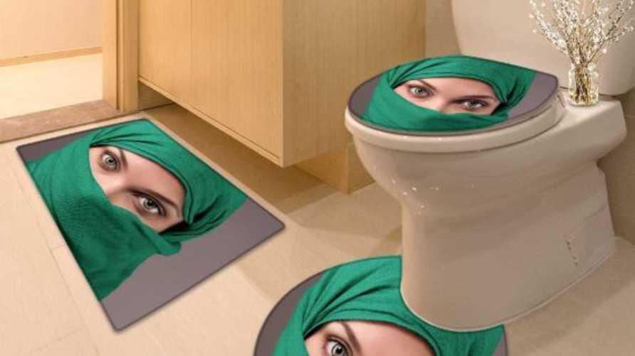 دواسات حمام وغطاء مرحضا يحمل صورة امرأة محجبة على متجر أمازون