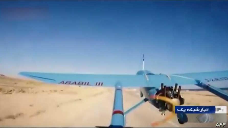 """صورة غير مؤرخة يدعي التلفزيون الإيراني أنها طائرة مسيرة باسم """"أبابيل""""تتبع للحرس الثوري."""
