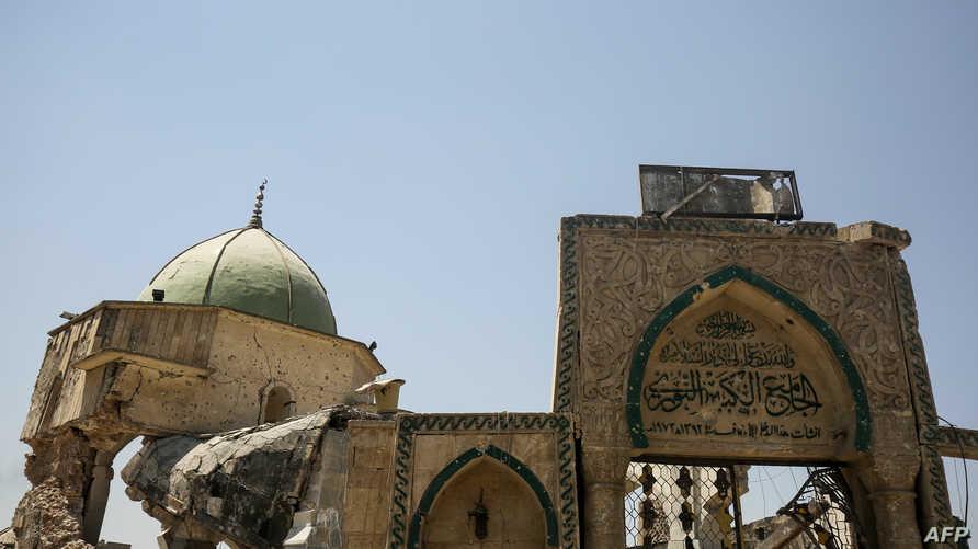 ما تبقى من جامع النوري بالموصل بعد تفجيره من قبل داعش