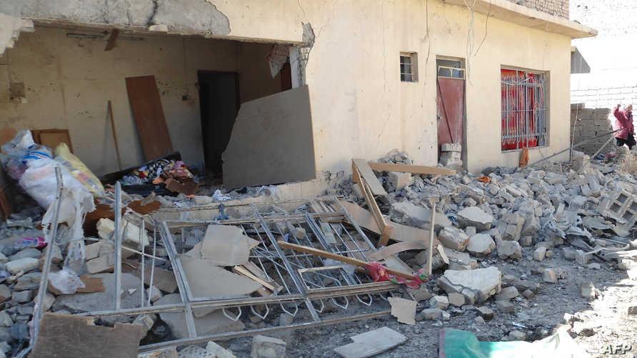 آثار دمار خلفه هجوم انتحاري سابق في بعقوبة