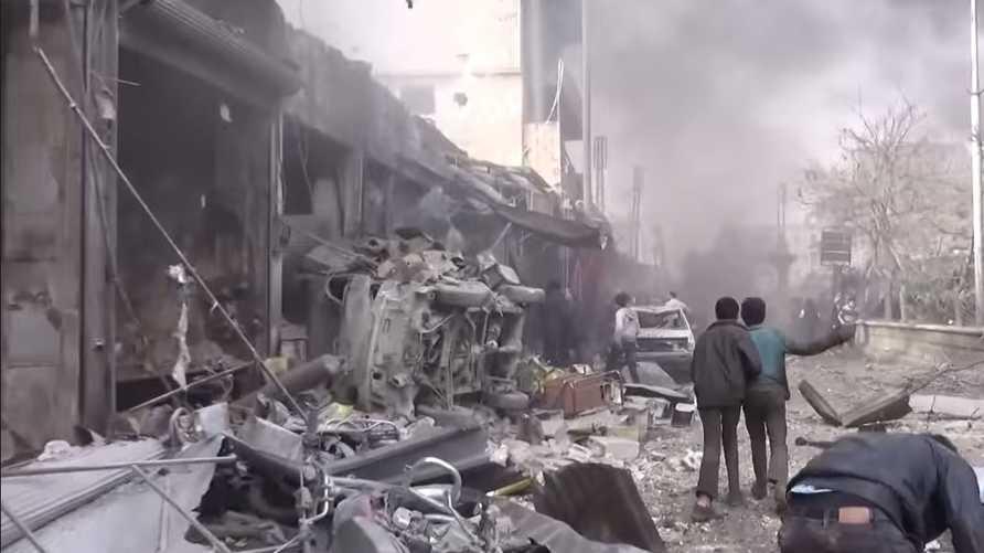 صورة من يوتيوب للقصف على مدينة الباب شمال حلب، أرشيف