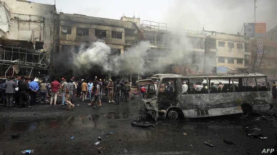 موقع التفجير في بغداد الجديدة