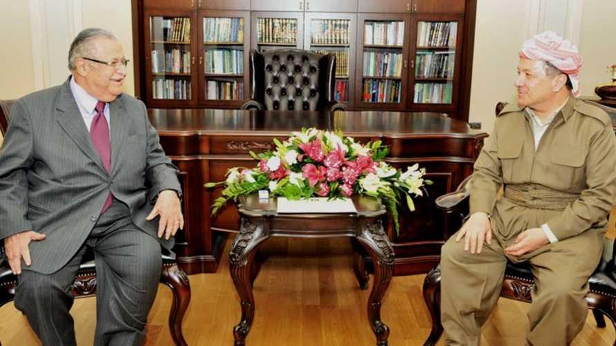 رئيس حزب الاتحاد الوطني الكردستاني جلال طالباني ورئيس الحزب الديموقراطي الكردستاني مسعود بارزاني