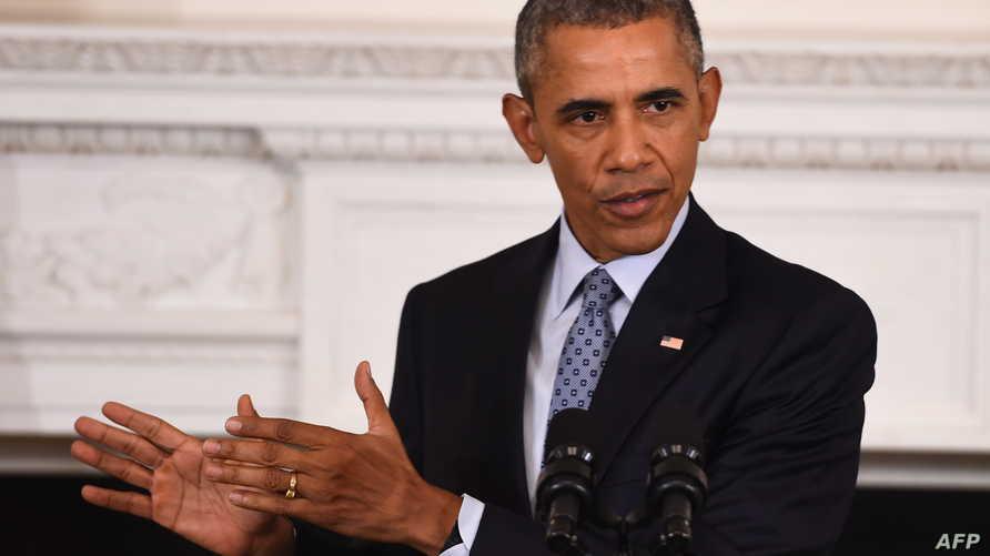 الرئيس باراك أوباما خلال مؤتمر صحافي بالبيت الأبيض يوم 2 تشرين الأول/أكتوبر 2015