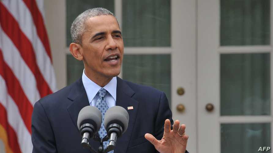 الرئيس أوباما متحدثا بعد الاعلان عن  اتفاق مبدئي حول النووي الإيراني