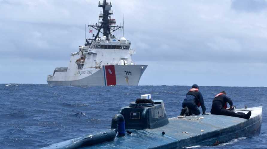المركبة البحرية التي ضبطها خفر السواحل الأميركي قبالة السواحل الإكوادورية- الكولومبية