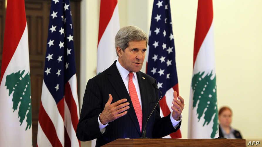 كيري خلال إلقاء كلمته في بيروت